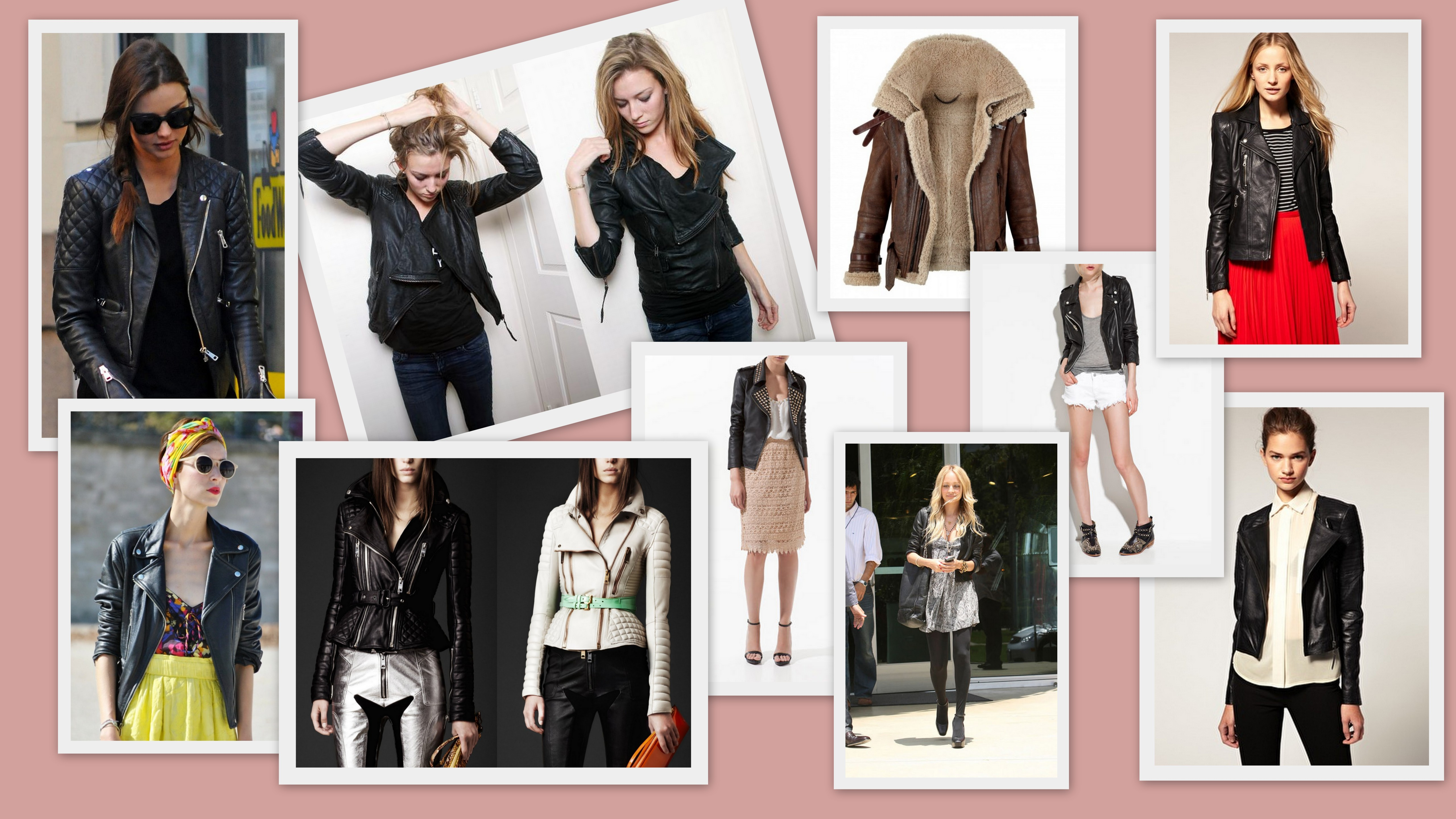 Mixture of Leather jacket styles and brands including: Balenciaga, Burberry Porseum, Whisltes, All Saints and Zara